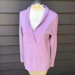 J CREW lavender cashmere shawl neck sweater M